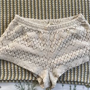Pins and Needles off-white Crochet Shorts